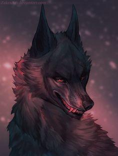 Black wolf by ZakraArt.deviantart.com on @DeviantArt