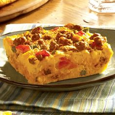 Start off the day on the right foot with this breakfast casserole filled with eggs, sausage, and your favorite vegetables and cheese. What's For Breakfast, Breakfast Dishes, Breakfast Casserole, Breakfast Recipes, Dessert Drinks, Dessert Recipes, Dinner Recipes, Cooking Recipes, Yummy Food