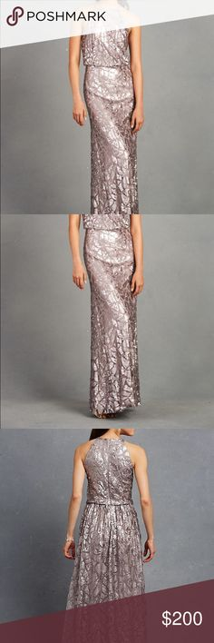 Donna Morgan Grey Ridge Tiffany Sequined Dress Capture the spotlight in a lovely mesh gown covered in a glittering mosaic of sequins. Cutaway shoulders draw the eye to your face and blouson styling creates lovely, flattering drape, while the floor-sweeping skirt makes an enchanting finish. Sizing runs true to size. Material is stretchy. Donna Morgan Dresses Backless