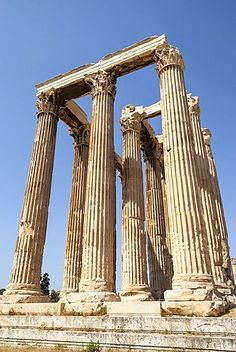 Greece, Attica, Athens, Temple of Olympian Zeus.