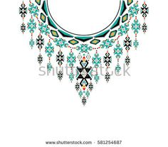 Geometric ethnic pattern neck embroidery design for background or wallpaper and clothing.
