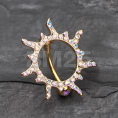 Golden Sun Eclipse Reverse Belly Button Ring by BM25Jewelry