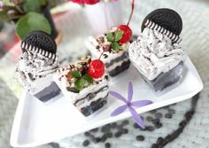 I'm not a good baker but i serve good dessert : chocolately brownies with Oreo Whipped Cream :) Recipe -  Very Tasty Food. Let's make it!