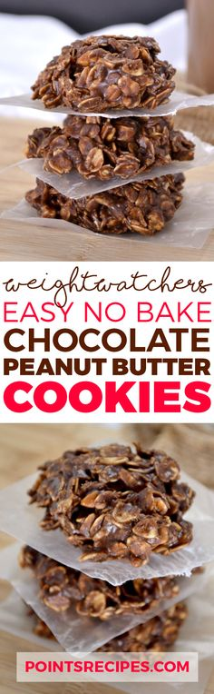 Easy No Bake Chocolate Peanut Butter Cookies (Weight Watchers SmartPoints)