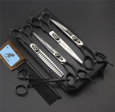 7inch big Tooth Black Pet grooming scissors sets,pet scissors,STRAIHT & THINNING & CURVED scissors 4pcs/ set