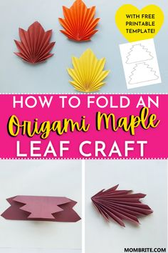 Looking for a fun and easy Fall themed craft? This origami Maple Leaf craft tutorial is a great fine motor skills activity for preschoolers and kindergarteners alike! Check out the tutorial and grab your free printable Maple Leaf template to get started. Motor Skills Activities, Craft Activities For Kids, Fine Motor Skills, Origami Maple Leaf, Maple Leaf Template, Leaf Crafts, Fall Crafts For Kids, Autumn Theme, Free Printables