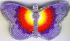 BUTTERFLY HAIR BARRETTE#20,NATIVE AMERICAN BEAD JEWELRY