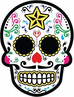 Sticker Calavera - Tete De Mort Mexicaine 23 - ref.d7461 | MPA Déco Sugar Skull Painting, Sugar Skull Art, Sugar Skulls, Day Of The Dead Diy, Day Of The Dead Skull, Dead Pictures, Halloween Crafts, Halloween Decorations, Candy Skulls