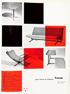 Enrico Ciuti, Annunci pubblicitari / Advertising, Tecno, 1956, courtesy Bibilioteca del Progetto - La Triennale di Milano.