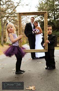 Adorable way to photograph the flower girl & ring bearer with bride & groom. #autumn #fall #wedding #photography
