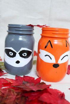 Set of 4 Woodland Animal Mason Jar hand painted mason jar ...