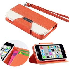 myLife Portland Orange + Bright White {Modern Design} Faux Leather (Card, Cash and ID Holder + Magnetic Closing + Hand Strap) Slim Wallet fo...