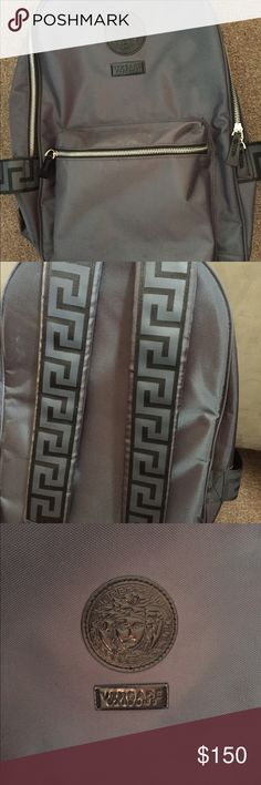 Versace Backpack Gray and black Versace backpack, worn once I'll add the cologne for $170 Versace Bags Backpacks