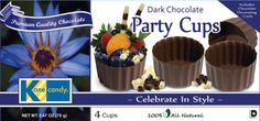 Chocolate Party Cups by Kane Candy. Premium Quality Chocolate, Made In USA, Certified Kosher and Gluten Free.  www.KaneCandy.com