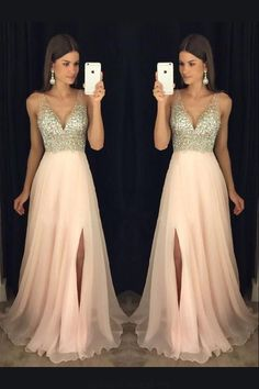 Evening Dresses Pink Prom Dress V-neck V Neck Evening Dresses Long Prom Dress Prom Dresses 2019 Prom Dresses Long Pink, Junior Prom Dresses, A Line Prom Dresses, Beautiful Prom Dresses, Tight Dresses, Ball Dresses, Homecoming Dresses, Pink Dress, Dress Prom