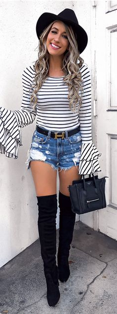 #winter #outfits white and black striped sweater
