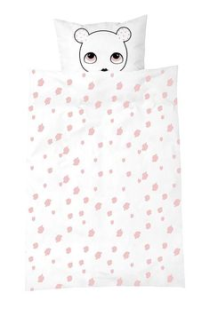 Beautifully designed pink and white single bedding set by LuckyBoySunday from Denmark - perfect for children's bedrooms! Includes 1 x pillowcase and a duvet cov