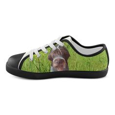 Dog and Flowers Canvas Kid's Shoes. FREE Shipping. #artsadd #sneakers #dogs