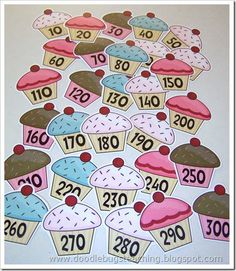Free Printable Count by ten cupcake cards (goes with the book If You Give a Cat a Cupcake) Good to use with rounding. Math Classroom, Kindergarten Math, Classroom Ideas, Teaching First Grade, Teaching Math, Math Stations, Math Centers, Math Resources, Preschool Activities