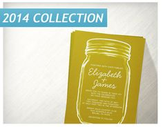 Gold Vintage Mason Jar Wedding Invitations