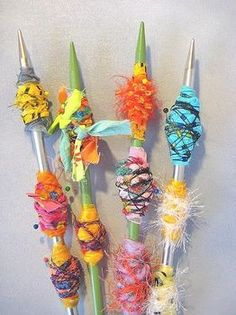 Crazy Fabric Beads - somehow makes me think of gladiolas, but prettier!