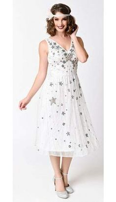 Frock and Frill Vintage 1930s White Beaded Stars Mesh Deco Dress