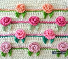 Rosebud Stitch @ MyPicot - Free crochet pattern ♡♡♡ thanks so xox ☆ ★…