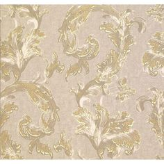 Spazio 74.26 sq. ft. Romeo Taupe Leafy Scroll Wallpaper-481-1425 - The Home Depot