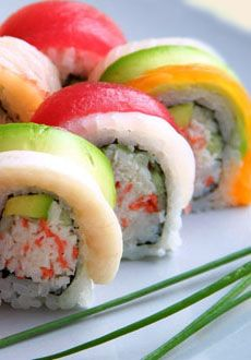 Rainbow roll sushi.japan Sushi originated as a means of preserving fish by fermenting it in boiled rice.