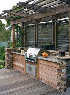 Outdoor grill design built in grill design pictures remodel decor and ideas page 9 outdoor kitchen . Rustic Outdoor Kitchens, Outdoor Kitchen Bars, Outdoor Kitchen Design, Outdoor Bars, Outdoor Spaces, Rustic Backyard, Parrilla Exterior, Patio Deck Designs, Patio Ideas