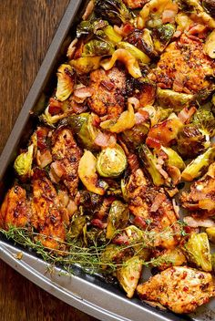 Balsamic Thyme Chicken with Brussels Sprouts, Apples and Bacon