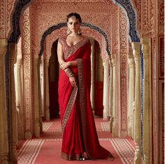 Stylish sleeveless blouse for saris Head to the webpage to learn more about Sabyasachi Sarees, Indian Sarees, Lehenga Choli, Banarasi Sarees, Anarkali, Red Saree, Saree Look, Saree Blouse, Sleeveless Blouse