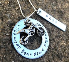 Motocross, Moto Necklace , God Wrap Your Arms Around Him, Handstamped Necklace , MX, Natashaaloha by natashaaloha on Etsy https://www.etsy.com/listing/567675402/motocross-moto-necklace-god-wrap-your