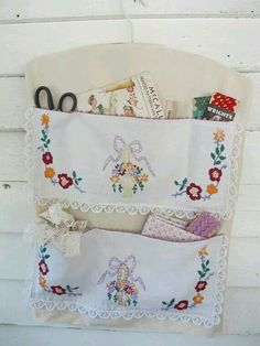 Old linen repurposed into a pretty but practical caddy.