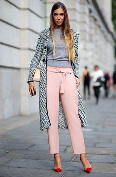 look grey turtleneck pink coat