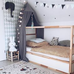 Noah and Phoebe have been asking for bunk beds for a while. I decided to go for the IKEA Kura and turn them into bunks.