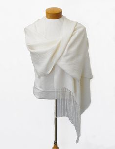 Creamy White Wedding Shawl with Freshwater Pearl by WovenBeauty