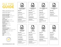 A Breakdown of File Types and When to Use Them {Free Download Cheat Sheet} Service Level Agreement, Brand Guidelines, Small Business Marketing, Cheat Sheets, Filing, Helpful Hints, Free Printables, Health And Wellness, Improve Yourself