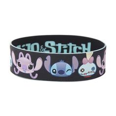 Disney Lilo Stitch Character Faces Rubber Bracelet Hot Topic ($5.60) ❤ liked on Polyvore featuring jewelry, bracelets, black bangles, kohl jewelry, rubber bangles, disney and black jewelry
