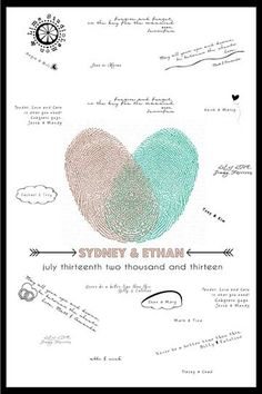 Thumbprints Hearts Guest Book  Wedding Guest by lemonANDlimeStudio, $35.00
