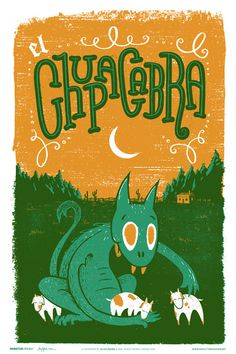chupacabra. Familytree is a small creative studio based in Nashville, Tennessee, run by illustrator Alex Pearson. Their 'Monster Friends' series is a collection of posters illustrating monsters from ancient legends and folklore as adorable, not-so-scary creatures. Each retro-style poster is a two-color screen print that measures at 12″ x 18″, with glow-in-the-dark variants.
