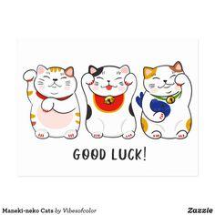 'Good Luck Japanese Cat Maneki-Neko ' by gsproductsgs Neko Cat, Maneki Neko, Kitty Cats, Cute Cats, Funny Cats, Adorable Kittens, Lucky Cat Tattoo, Cat Plants, Japanese Cat