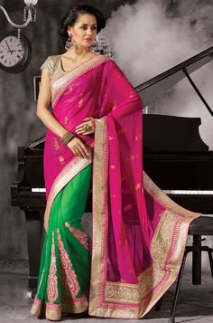 Pretty Parrot Green and Magenta Saree