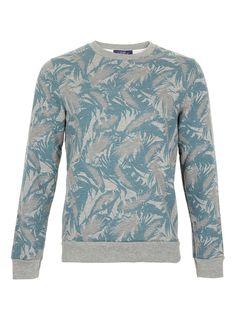 Blue Leaf Camo Patterned Sweatshirt - Sweatshirts -Mens Hoodies & Sweats- Clothing - TOPMAN USA