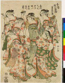 Woodblock print.Music and drama. Six girls performing Nembutsu dance. Line-block on paper.