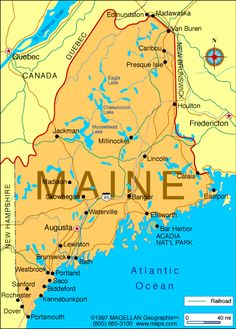 Map of Maine - We spend time here every summer. It wouldn't be summer without a lake, lobster and friends in Maine! New England States, New England Travel, Caribou Maine, Summer Travel, New Hampshire, Vacation Spots, Travel Usa, Places To Travel, Van