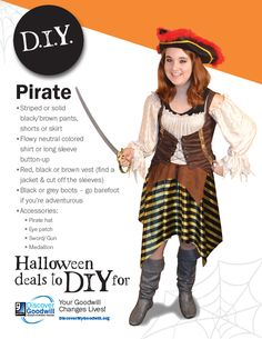 You ARRRGH changing lives by shopping for your #Halloween costume at #DiscoverGoodwill! Here are some great tips for putting together a pirate costume. #HalloweenToDIYFor