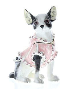 Chihuahua Long Coat Dog Polished Metal Square Pill Box Gift