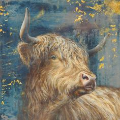 size: Art Print: Highland Bull by Dina Peregojina : Painting Frames, Painting Prints, Art Prints, Bull Pictures, Fluffy Cows, Beautiful Artwork, World Cultures, Drawing S, Painting Inspiration