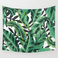 Wall Tapestry featuring Tropical Glam Banana Leaf Print by Nikki
